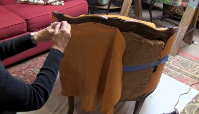 how to reupholster a curved back chair