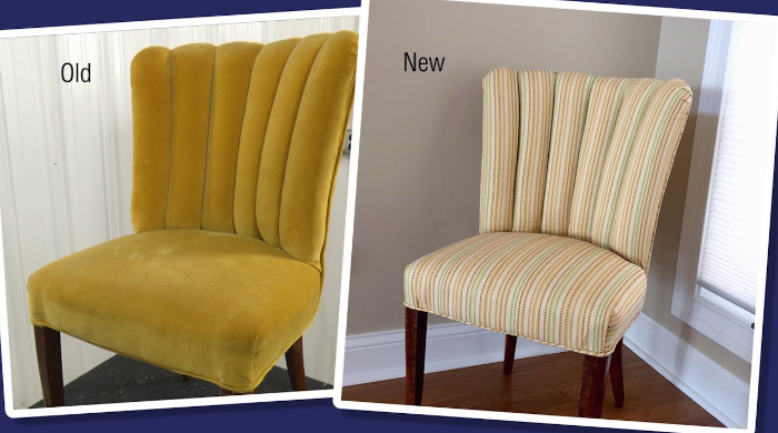 reupholster curved back chair before after